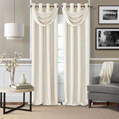 Brooke 18 in. W x 23 in. L Polyester Single Waterfall Swag Blackout Valance in Natural