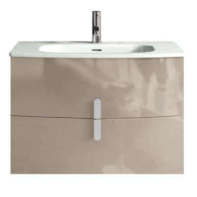 Cali 31.20 in. W x 18.80 in. D x 21.20 in. H Vanity in Brown with Porcelain Top in White with White Basin