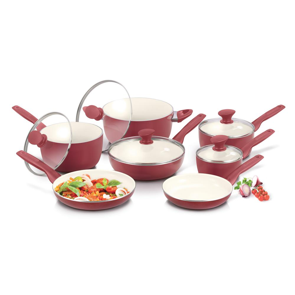 GreenPan Rio Ceramic Nonstick 12-Piece Cookware Set, Red/...