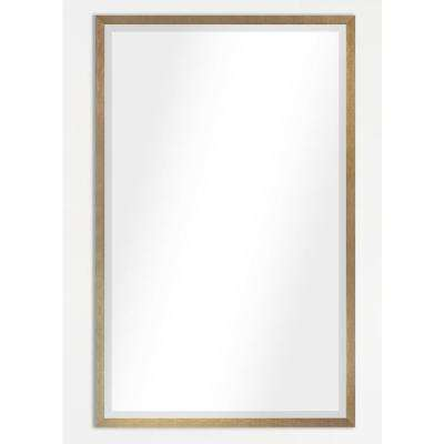 21.125 in. x 17.125 in. Tuscan Linen Amber Metal Framed Beveled Vanity/Wall Mirror