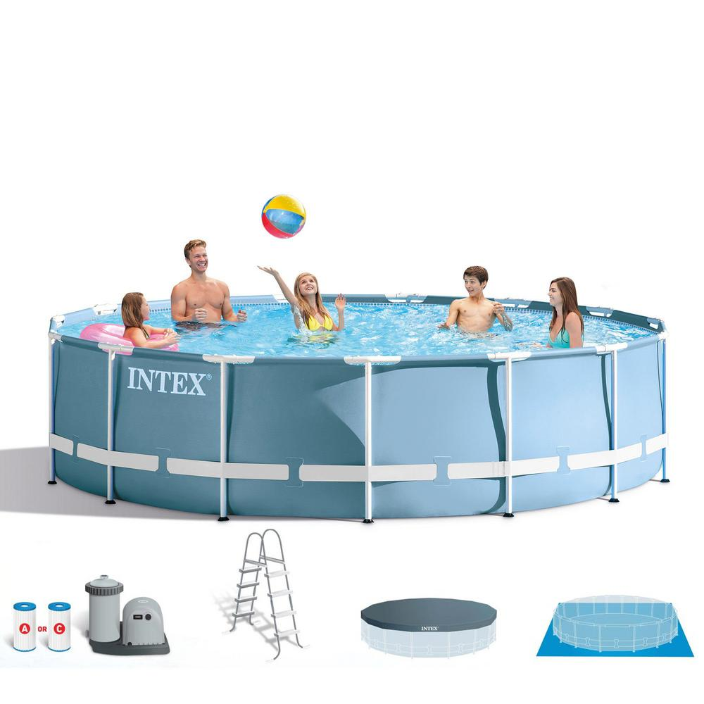 Intex 18 ft. x 48 in. Prism Frame Round Above Ground Swimming Pool with  Ladder, Filter and Pump