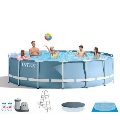 18 ft. x 48 in. Prism Frame Round Above Ground Swimming Pool with Ladder, Filter and Pump