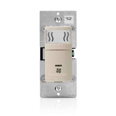 Decora In-Wall Humidity Sensor & Fan Control, 3 A, Single Pole, Light Almond