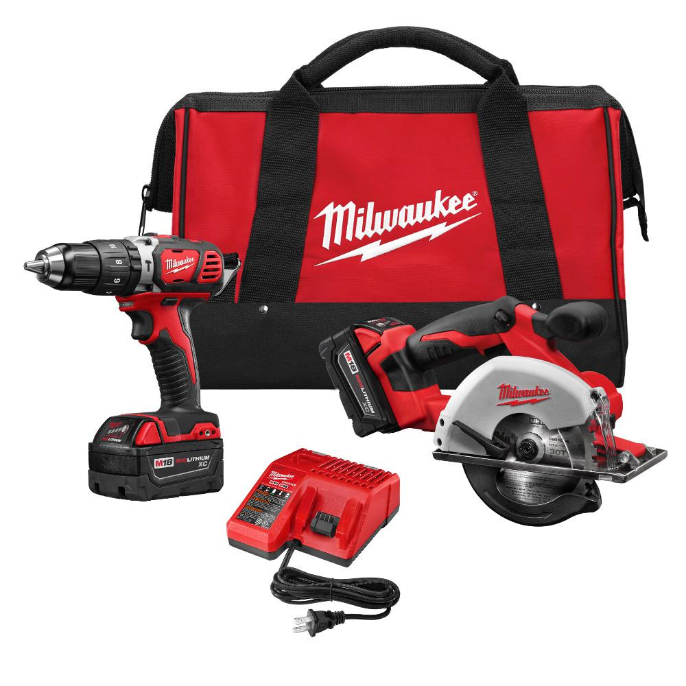 Milwaukee M18 18-Volt Lithium-Ion Cordless Compact Drill/Metal Circular Saw Combo Kit (2-Tool)