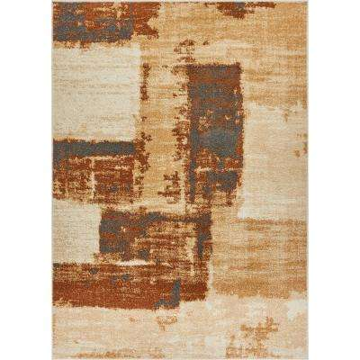 Mystic Central Park Brown 8 ft. x 10 ft. Vintage Abstract Art Deco Brush Strokes Modern Area Rug