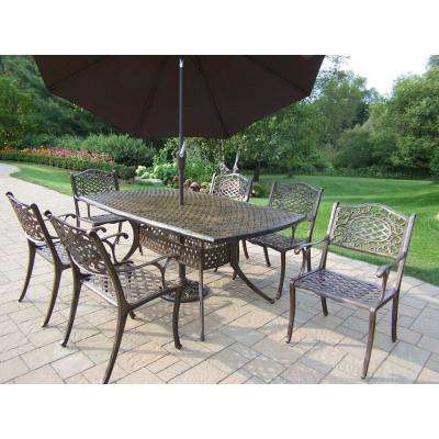 9 Piece Antique Bronze Aluminum Outdoor Dining Set And Brown Umbrella Hd2301 2012 4005 Bn 4101 9 Ab The Home Depot