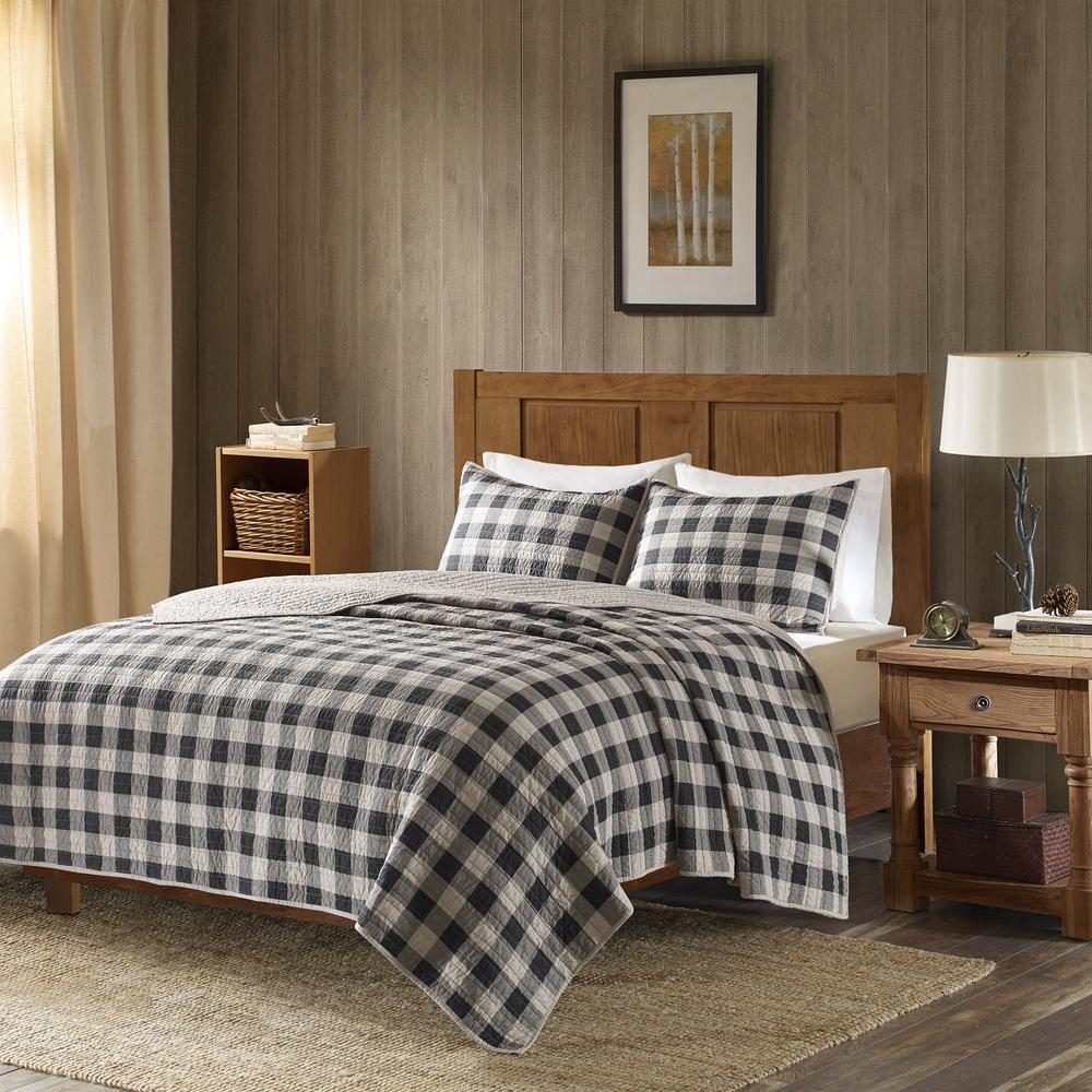 Buffalo Check 3-Piece Gray Full/Queen Oversized Quilt Mini Set