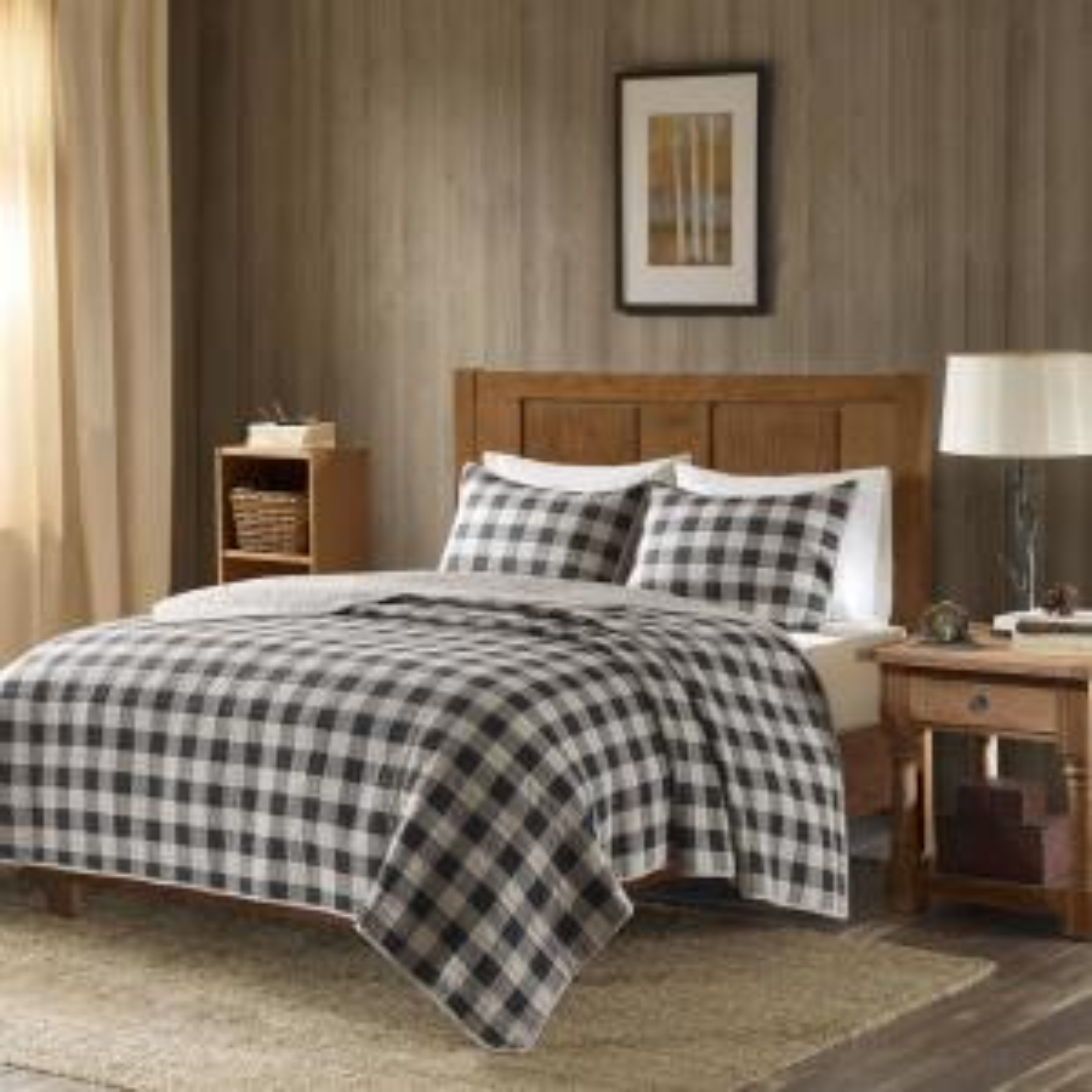Buffalo Check 3-Piece Gray King/Cal King Oversized Quilt Mini Set