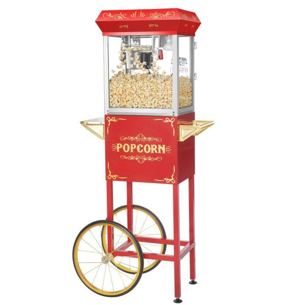 Great Northern 4 oz. Red Stainless Steel Foundation Popcorn Machine with