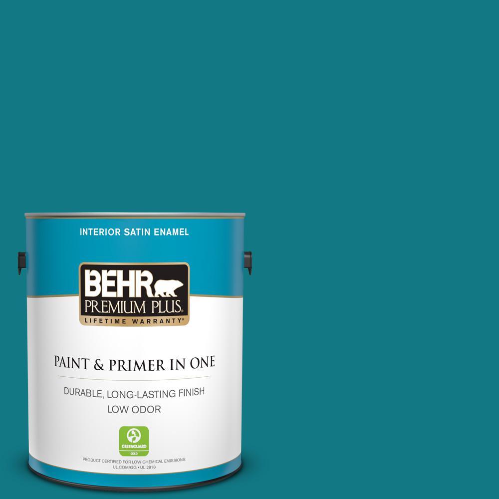 Behr Premium Plus 1 Gal P470 7 The Real Teal Satin Enamel Low