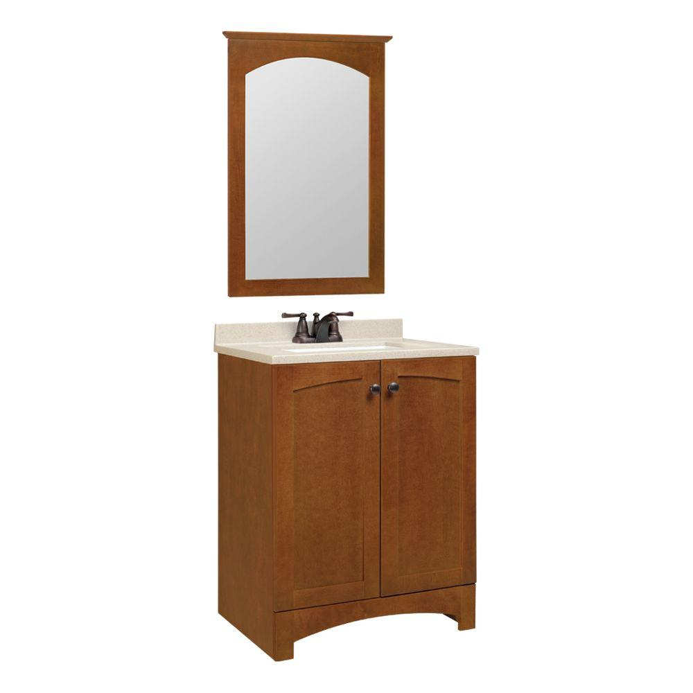 Glacier Bay Melborn 24.5 in. W Bath Vanity in Chestnut with Solid Surface Technology Vanity Top in Wheat with White Sink and Mirror