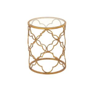 Brass Gold Round Accent Table with Quatrefoil Trellis Design Frame by