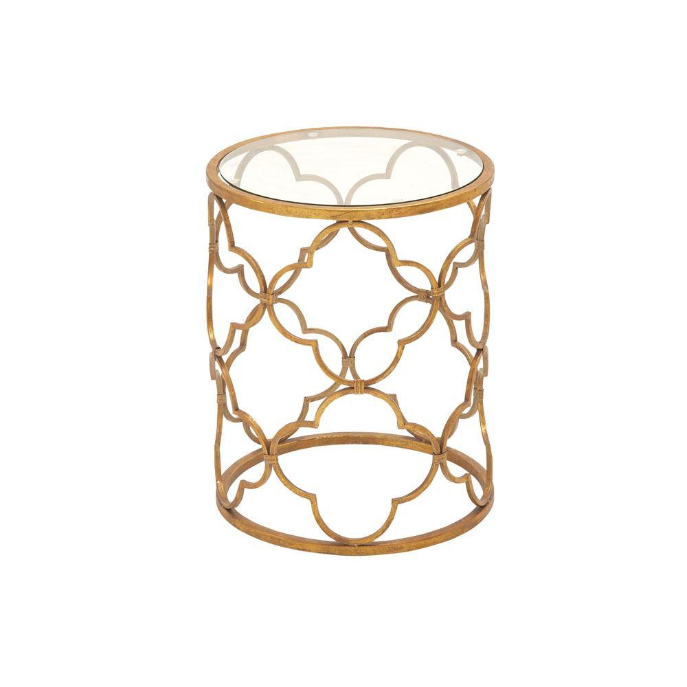 Brass Gold Round Accent Table with Quatrefoil Trellis Design Frame