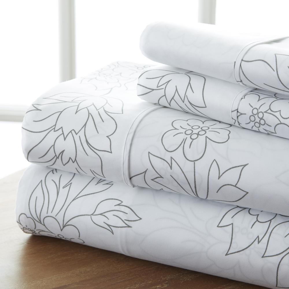 4-Piece Gray Floral Microfiber King Sheet Set