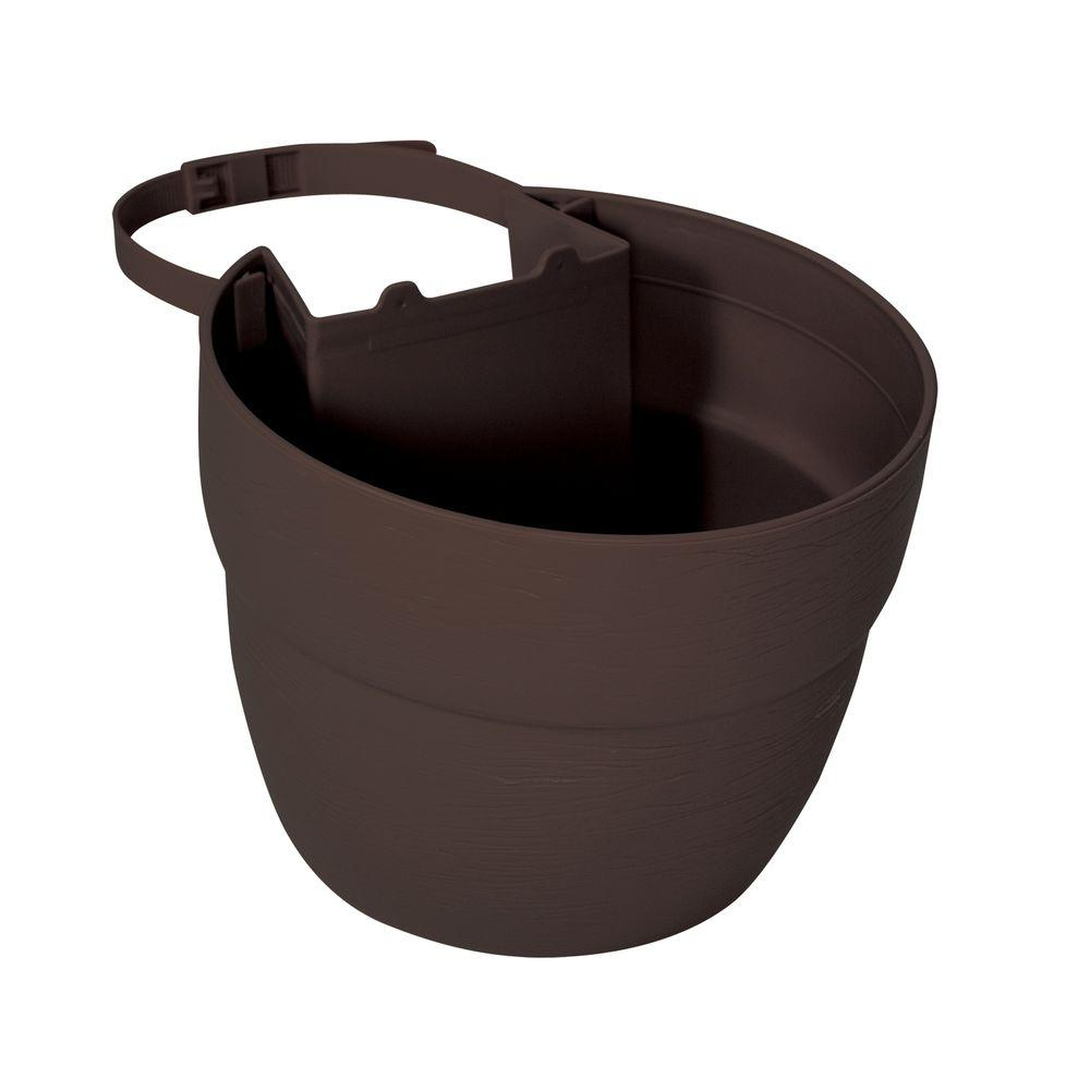 EMSCO Bloomers Outdoor Post Planter, Brown