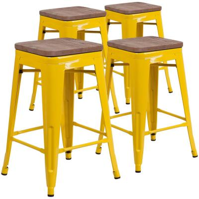 24 in. Yellow Barstool (Set of 4)