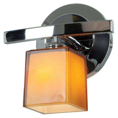 Sydney 1-Light Chrome Vanity Light with Amber Glass Shade