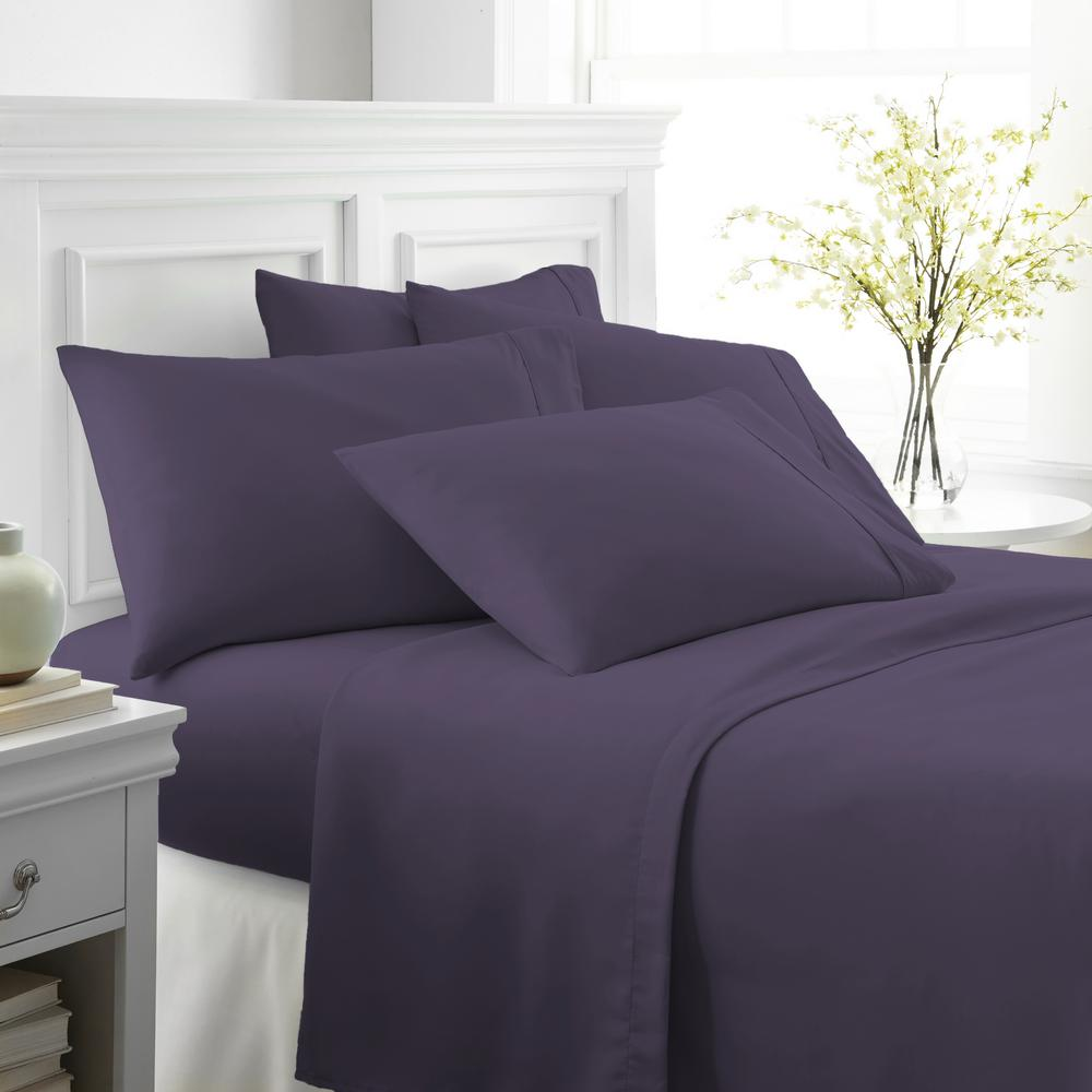 Becky Cameron Performance Purple California King 6 Piece Bed Sheet Set