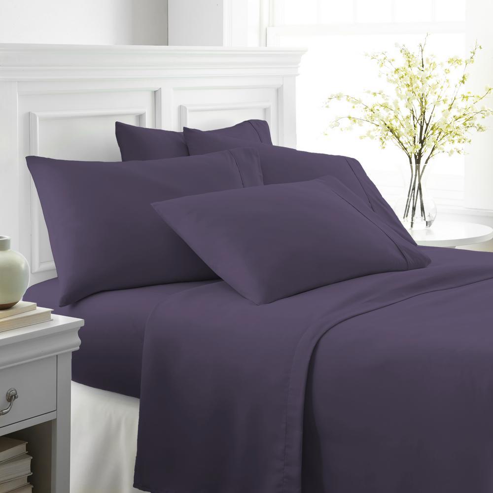 Performance Purple California King 6-Piece Bed Sheet Set