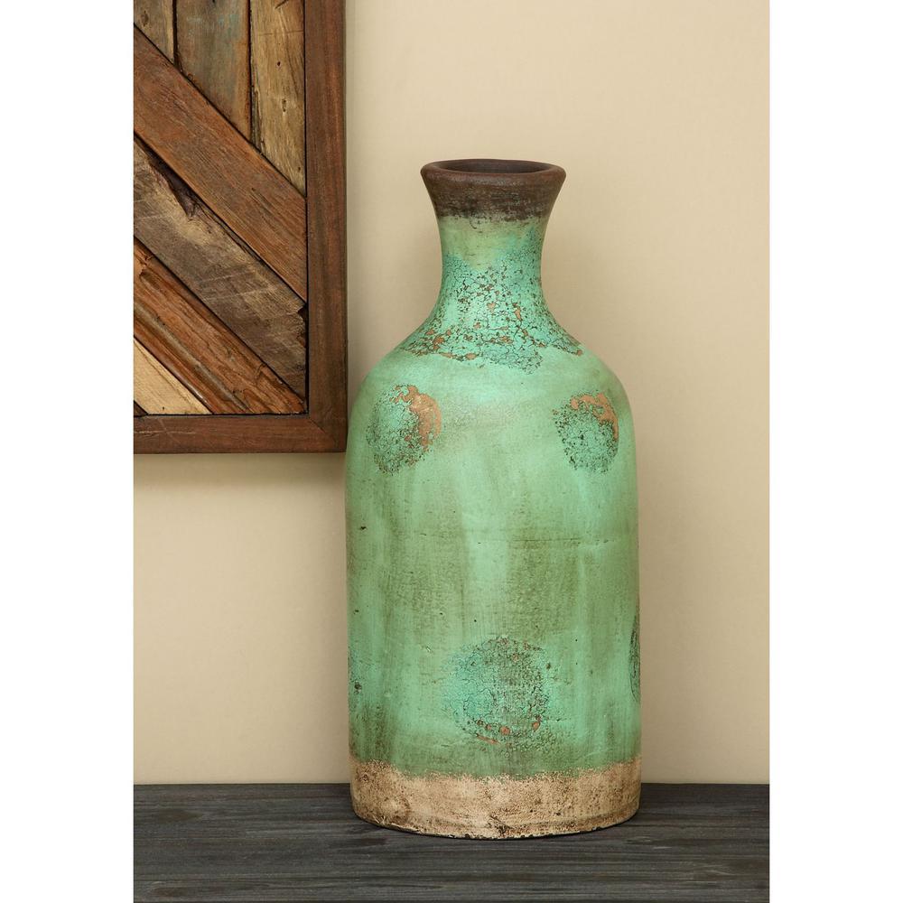 18 in terracotta bottle decorative vase in teal 38142 the home terracotta bottle decorative vase in teal reviewsmspy