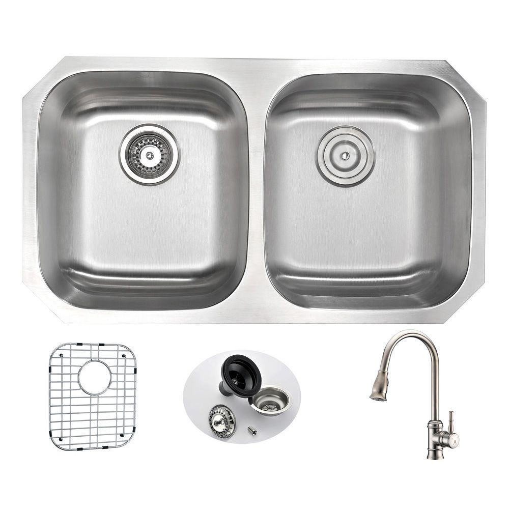 Anzzi Moore Undermount Stainless Steel 32 In Double Bowl Kitchen Sink And Faucet Set With Sails Faucet In Brushed Nickel Kaz3218 130 The Home Depot