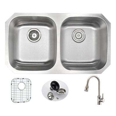 MOORE Undermount Stainless Steel 32 in. Double Bowl Kitchen Sink and Faucet Set with Sails Faucet in Brushed Nickel