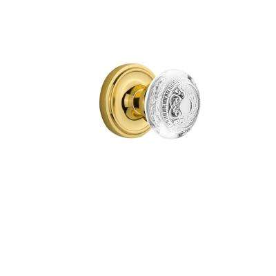 Classic Rosette 2-3/8 in. Backset Polished Brass Privacy Bed/Bath Crystal Egg and Dart Door Knob