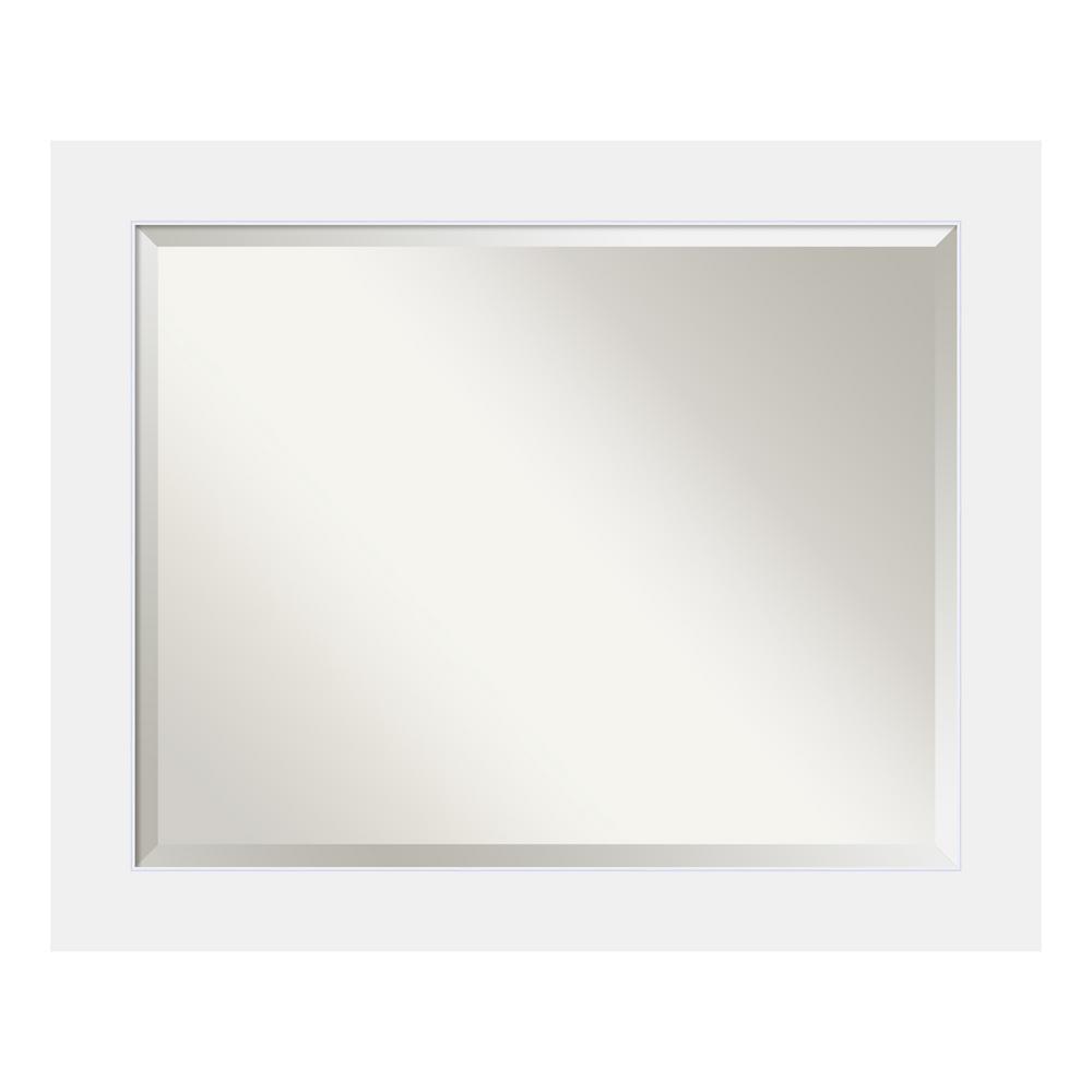 Corvino 33 in. W x 27 in. H Framed Rectangular Beveled Edge Bathroom Vanity Mirror in Satin White