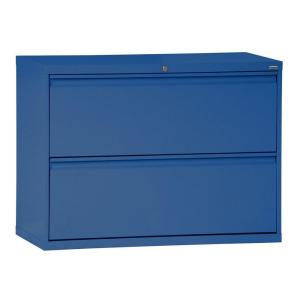 800 Series 42 in. W 2-Drawer Full Pull Lateral File Cabinet in Blue