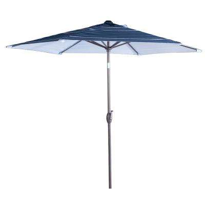 9 ft. Market Outdoor Aluminum Table with Push Button Tilt and Crank Patio Umbrella in Beige