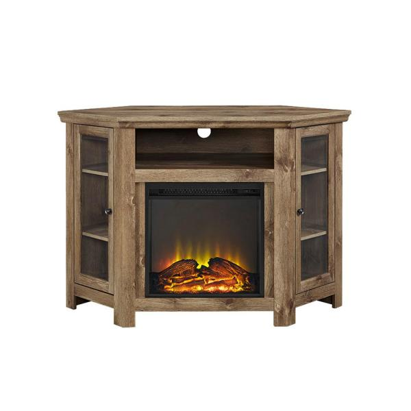 Walker Edison Furniture Company Barnwood Fire Place Entertainment Center HD48FPCRBW