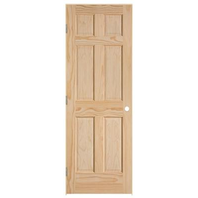 30 in. x 80 in. 6-Panel Right-Handed Solid-Core Smooth Unfinished Pine Single Prehung Interior Door