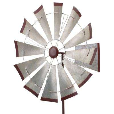 32 in. Kinetic Stake - Galvanized Windmill