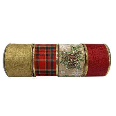 Holiday Traditions 2.5 in. x 30 ft. Classic Ribbon (4 Assorted Styles Available)