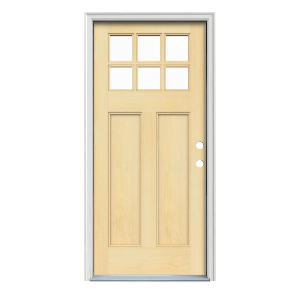 JELD-WEN 36 in. x 80 in. Craftsman 6-Lite Unfinished Fir Prehung Front Door with Unfinished AuraLast Jamb and Brickmould
