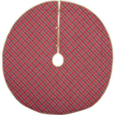 48 in. Gavin Cherry Red Rustic Christmas Decor Tree Skirt
