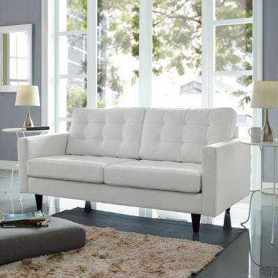 Empress White Bonded Leather Loveseat