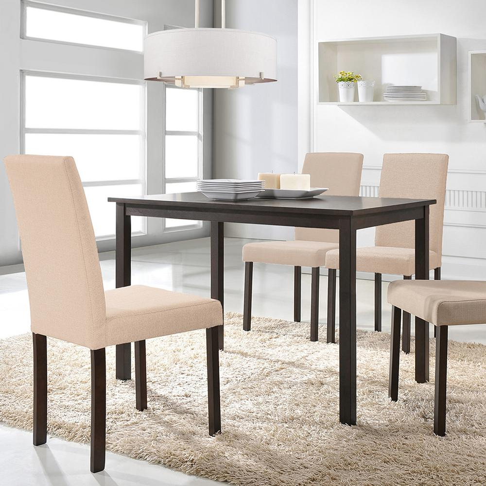 Dark Wood Dining Set: Baxton Studio Andrew 5-Piece Beige Fabric Upholstered Dining Set-5255-6231-HD