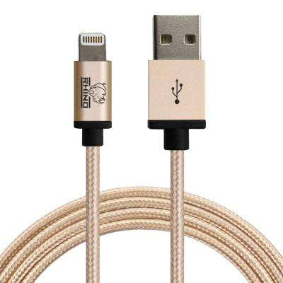 3 ft. Braided Nylon MFi Lightning Cable with Aluminum Alloy Connector Cable, Gold