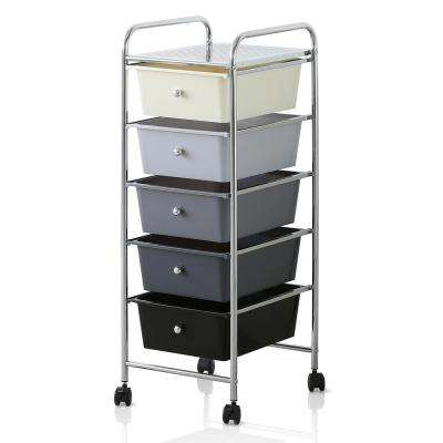 Wayar 5-Shelf Chrome 4-Wheeled 5-Drawer Trolley in White and Black