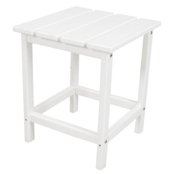 POLYWOOD Long Island 18 in. White Patio Side Table