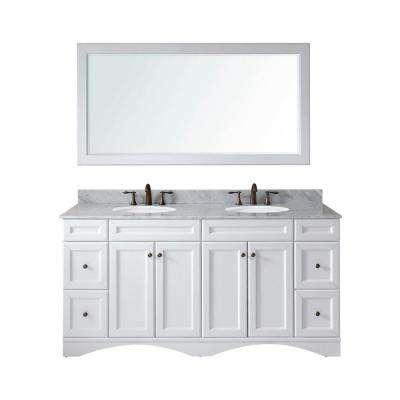 Talisa 72 in. W Bath Vanity in White with Marble Vanity Top in White with Round Basin and Mirror