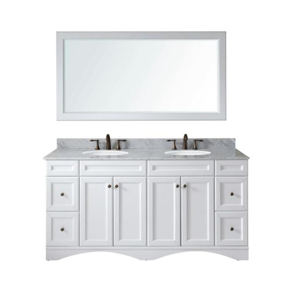 Virtu Usa Talisa 72 In W Bath Vanity In White With Marble Vanity Top In White With Round Basin And Mirror Ed 25072 Wmro Wh The Home Depot