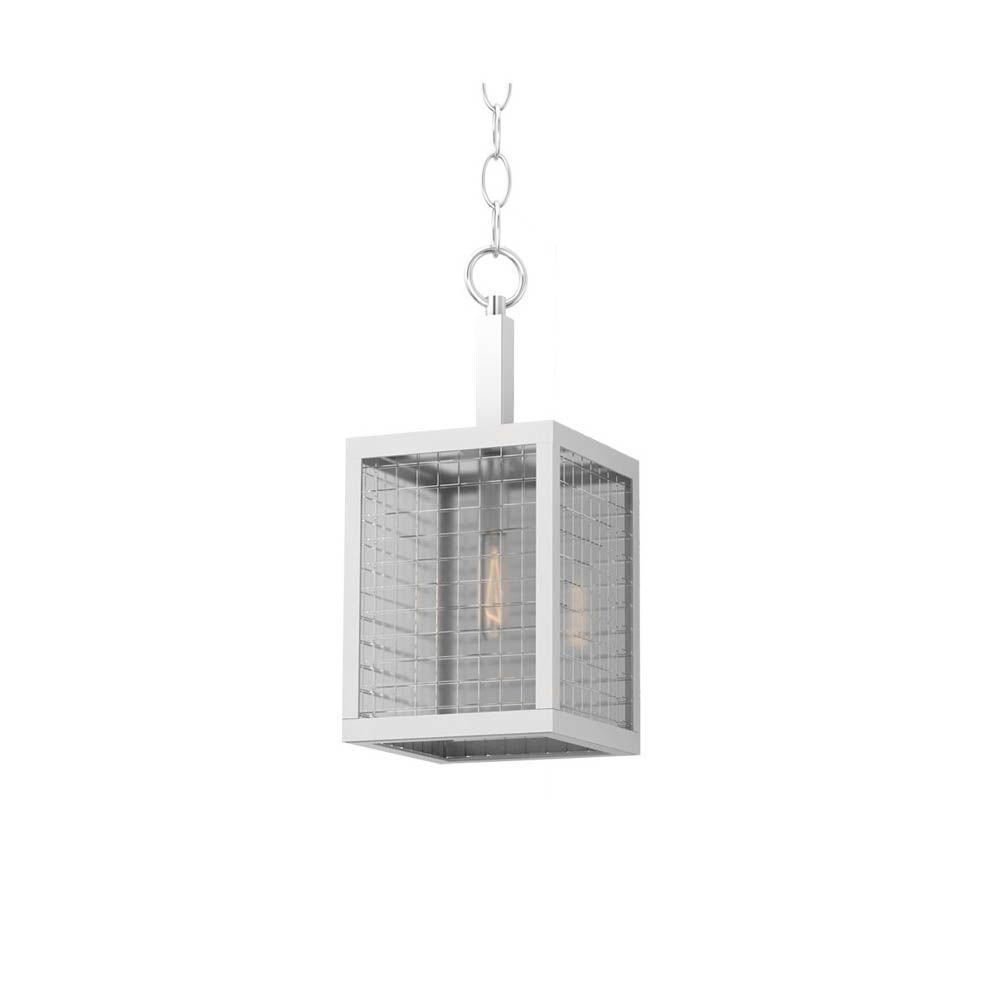 1-Light Brushed Nickel Mini Pendant with Etched Clear Glass Shades