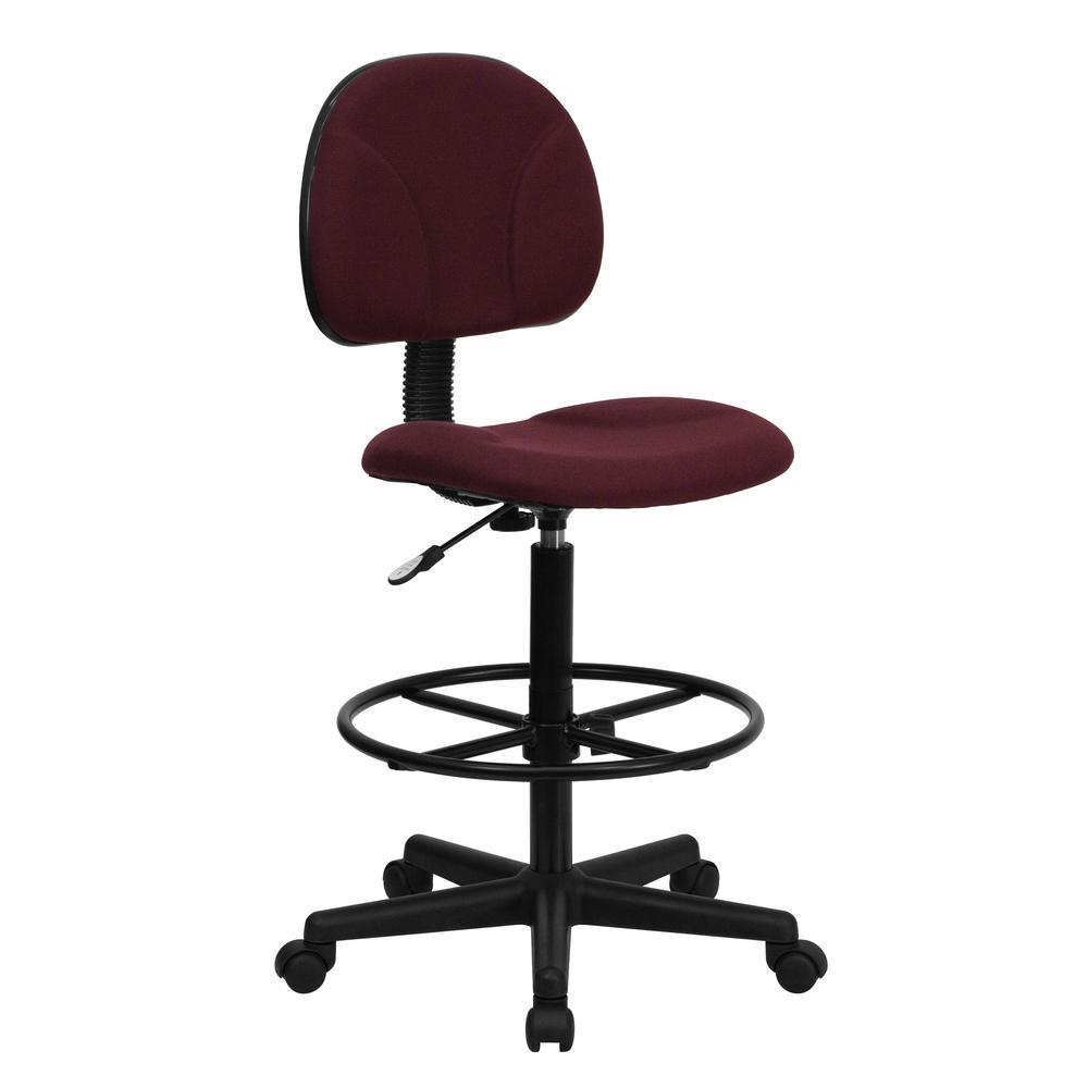 burgundy fabric ergonomic drafting chair adjustable range 225 in 27 in h