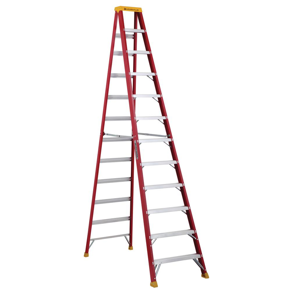 louisville ladder 12 ft fiberglass step ladder with 300 lbs load capacity type ia duty rating. Black Bedroom Furniture Sets. Home Design Ideas