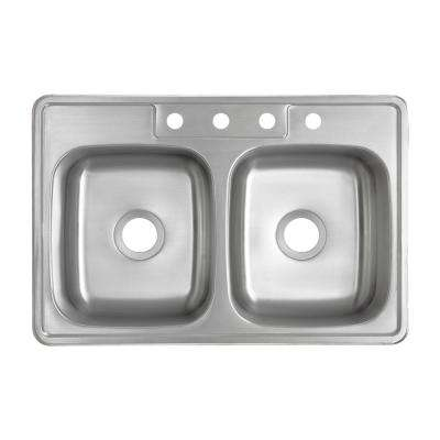 Drop-In 20-Gauge Stainless Steel 33 in. 4-Hole 50/50 Double Bowl Kitchen Sink