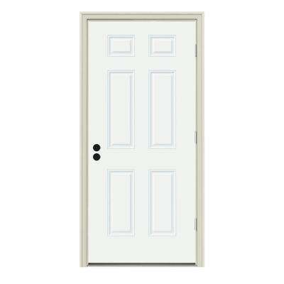 34 in. x 80 in. 6-Panel White Painted Steel Prehung Left-Hand Outswing Front Door w/Brickmould