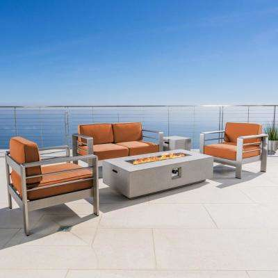 Cape Coral Silver 5-Piece Metal Patio Fire Pit Conversation Set with Canvas Rust Sunbrella Cushions