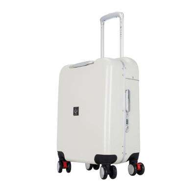 Seat-On 20 in. Hardside Carry-On with 4-Spinner Wheels and Seatable Surface in Silver and White